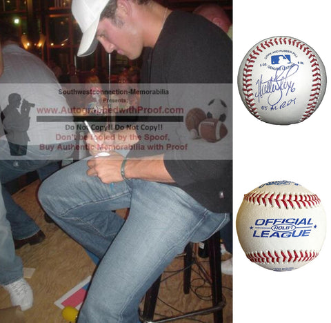 Baseballs-Autographed - Huston Street Signed Rawlings ROLB1 Baseball W/ Inscription, Proof Photo- Oakland Athletics- Colorado Rockies - Collage 2
