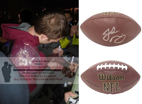 Football-Autographed - Jake Browning Signed NFL Wilson Composite Football, Proof- Washington Huskies- Collage 1