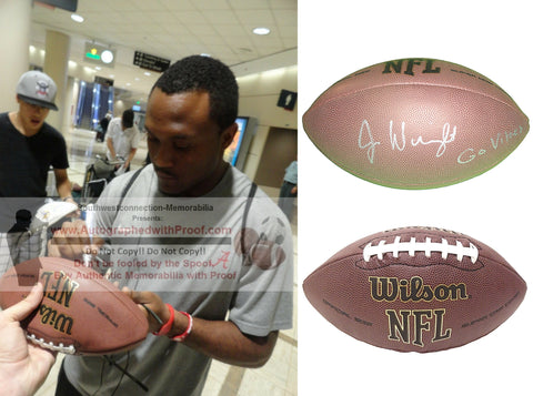 Football-Autographed - Jarius Wright Signed NFL Wilson Composite Football with Minnesota Vikings Inscription- Arkansas Razorbacks- Proof Photo Collage 1