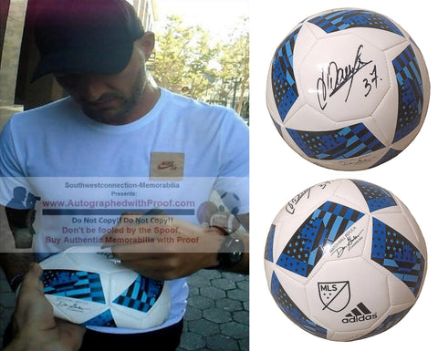 Soccer-Autographed - Jelle Van Damme Signed White Adidas MLS Soccer Ball, Proof Photo Collage 1