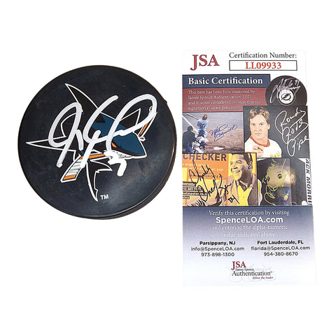 Hockey Pucks- Autographed- Jeremy Roenick Signed San Jose Sharks Logo Official NHL Ice Hockey Puck - JSA Authentication- 101