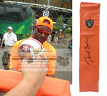 Football End Zone Pylons-Autographed - Jerry Rice Signed Oakland Raiders Football TD Pylon, Proof- Collage