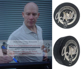Hockey Pucks-Autographed - Joe Mullen Signed Pittsburgh Penguins Logo Official Hockey Puck, Proof- Collage 1