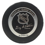 Hockey Pucks-Autographed - Joe Mullen Signed Pittsburgh Penguins Logo Official Hockey Puck, Proof- 103