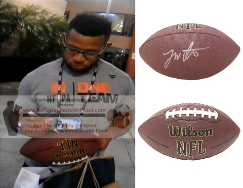 Football-Autographed - Jonathan Williams Signed NFL Wilson Composite Football, Proof Photo- Indianapolis Colts- Buffalo Bills- New Orleans Saints- Collage- 2