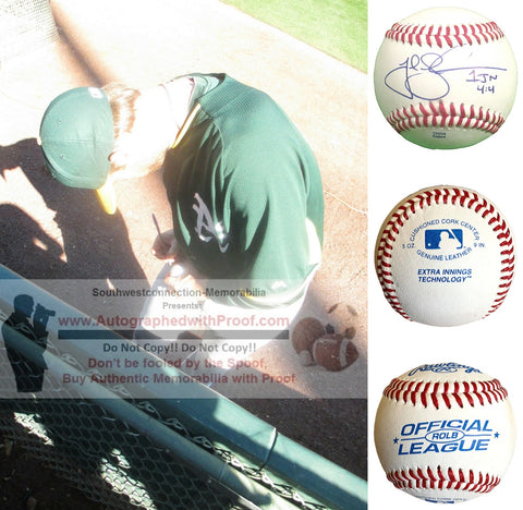 Baseballs- Autographed- Josh Lindblom Signed Rawlings ROLB Leather Baseball Proof Photo- Oakland Atheltics A's- Los Angeles Dodgers- Collage 1