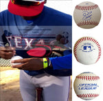 Baseballs-Autographed - Juremi Profar Signed Rawlings ROLB1 Leather Baseball, Proof Photo- Texas Rangers- Boston Red Sox- Collage- 1
