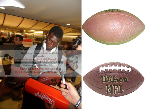 Football-Autographed - Justin Blackmon Signed NFL Wilson Composite Football- Jacksonville Jaguars- OSU Oklahoma State University Cowboys- Proof Photo Collage 1
