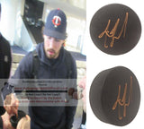Hockey Pucks-Autographed - Justin Faulk Signed Hockey Puck, Proof Photo- St Louis Blues- Collage 2