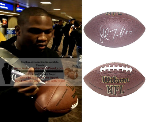 Football-Autographed - Justin Forsett Signed NFL Wilson Composite Football, Proof Photo- Seattle Seahawks- Denver Broncos- Baltimore Ravens- Houston Texans- Collage- 1