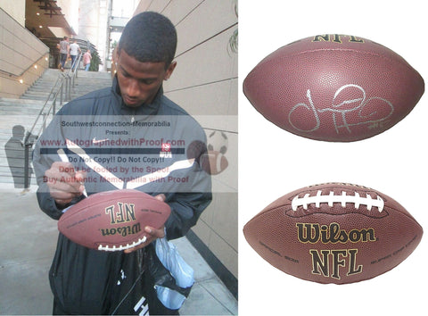 Football-Autographed - Justin Hunter Autographed NFL Wilson Composite Football, Proof Photo- Pittsburgh Steelers- Tennessee Titans- Buffalo Bills- Miami Dolphins- Collage- 2