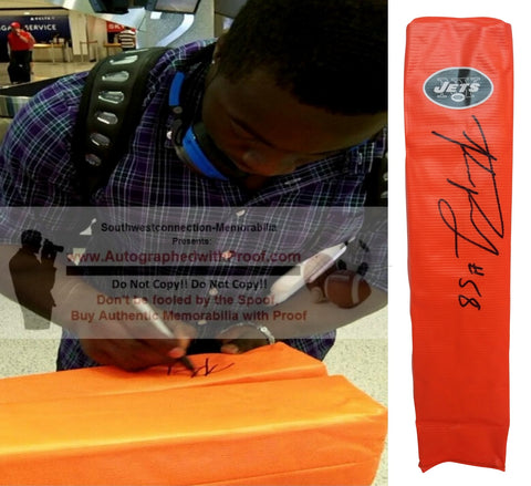 Football End Zone Pylons-Autographed - Kevin Pierre-Louis Signed New York Jets TD Pylon, Proof- Collage- 2