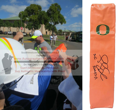 Football End Zone Pylons-Autographed - Kyle Long Signed Oregon Ducks Football TD Pylon, Proof Photo- Chicago Bears- Collage 2