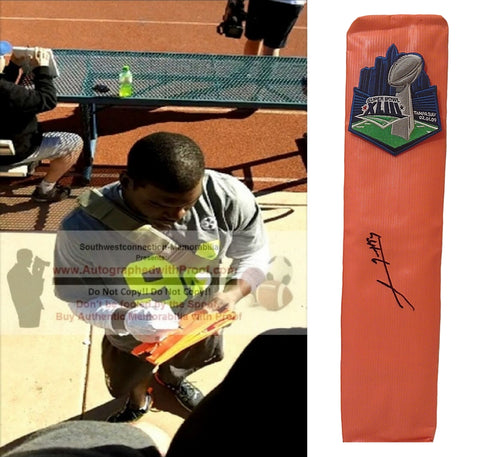 Football End Zone Pylons-Autographed - Lawrence Timmons Signed Pittsburgh Steelers TD Pylon, Proof- Collage 1