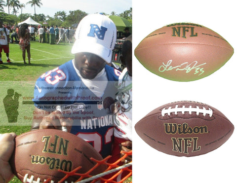 Football-Autographed - Leon Washington Signed NFL Wilson Composite Football, Proof Photo- Seattle Seahawks- New England Patriots- Tennessee Titans- Collage- 1