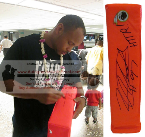Football End Zone Pylons-Autographed - Lorenzo Alexander Signed Washington Football Team TD Pylon Proof- Collage- 1