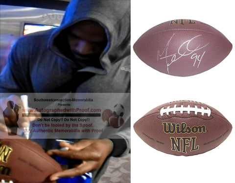 Football-Autographed - Mario Williams Signed NFL Wilson Composite Football, Proof Photo- Houston Texans- Buffalo Bills- NC North Carolina State Wolfpack- Collage 1