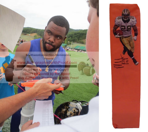 Football End Zone Pylons-Autographed - Mark Ingram Signed New Orleans Saints Football Pylon, Proof- Collage