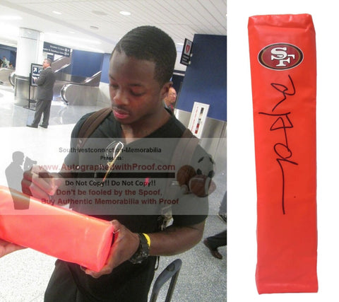 Football End Zone Pylons-Autographed - Marquise Goodwin Signed SF 49ers Football TD Pylon- Proof Photo- Collage 301