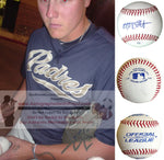 Baseballs-Autographed - Mat Latos Signed Rawlings ROLB1 Leather Baseball, Proof Photo- San Diego Padres- Washington Nationals- Collage- 4