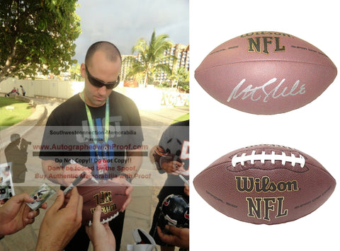 Football-Autographed - Matt Schaub Signed NFL Wilson Composite Football, Proof Photo- Atlanta Falcons- Houston Texans- Virginia Cavaliers- Collage- 2