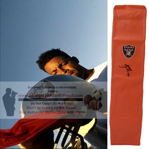 Football End Zone Pylons-Autographed - Michael Crabtree Signed Oakland Raiders TD Pylon, Proof- Collage- 1