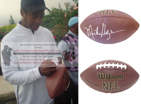 Football-Autographed - Mike Haynes Signed NFL Wilson Composite Football W/ Inscription, Proof Photo- Las Vegas Raiders- New England Patriots- ASU Arizona State University Sun Devils- Collage 2