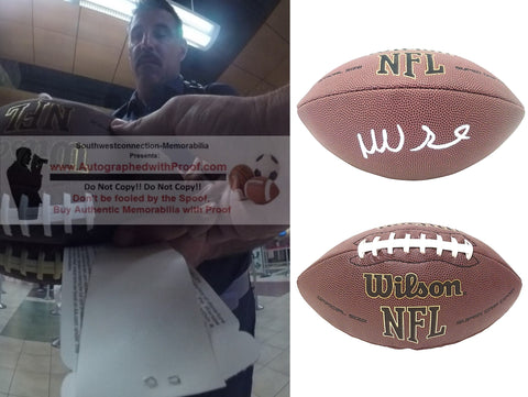 Footballs- Autographed- Mike Vrabel Signed NFL Wilson Super Grip Football Proof Photo- Tennessee Titans- New England Patriots- Kansas City Chiefs- Collage 1
