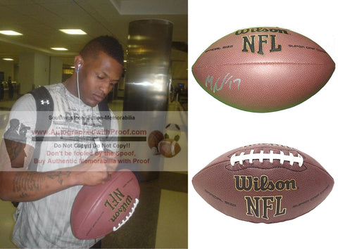 Football-Autographed - Mike Wallace Signed NFL Wilson Composite Football, Proof Photo- Pittsburgh Steelers- Philadelphia Eagles- Minnesota Vikings- Baltimore Ravens- Collage 1