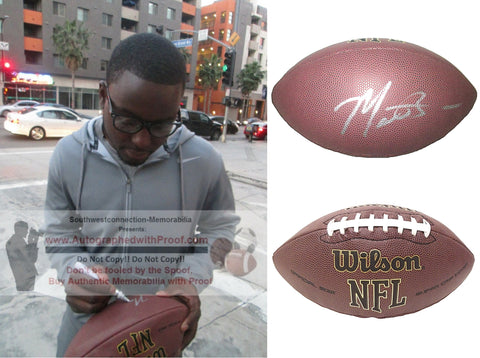 Football-Autographed - Montee Ball Signed NFL Wilson Composite Football- Denver Broncos- Wisconsin Badgers- Proof Photo Collage 1