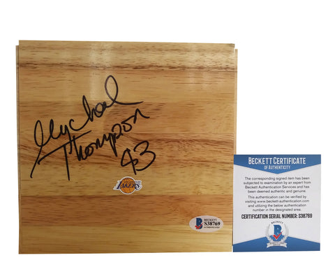 Basketballs- Autographed- Mychal Thompson Signed Los Angeles Lakers Floorboard Proof Photo- Beckett BAS 1