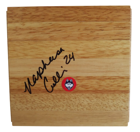 Basketballs-Autographed - Napheesa Collier Signed Uconn Huskies 6x6 Parquet Basketball Floor, Proof