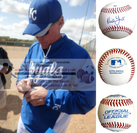 Baseballs-Autographed - Ned Yost Signed Rawlings ROLB Leather Baseball, Proof Photo- Kansas City Royals- Atlanta Braves- Collage 2