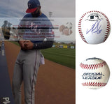 Baseballs- Autographed- Nomar Mazara Signed Rawlings ROLB1 Baseball Proof Photo- Texas Rangers- Chicago White Sox - Collage- 8