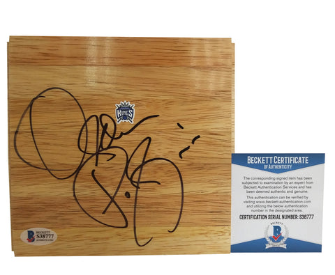 Basketball Floorboards- Autographed- Olden Polynice Signed Sacramento Kings Logo Basketball Parquet Floorboard - Beckett BAS 101