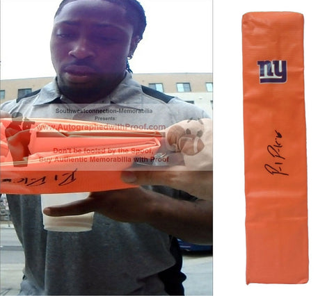 Football End Zone Pylons-Autographed - Paul Perkins Signed New York Giants Football TD Pylon, Proof- Collage