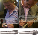 Football-Autographed - Jim Nantz & Phil Simms Duo Signed Pyle Full Size Microphone, Proof Photo Collage 1