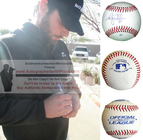 Baseballs-Autographed - Randy Wells Signed Rawlings ROLB1 Leather Baseball, Proof Photo- Chicago Cubs- Toronto Blue Jays- Collage- 3