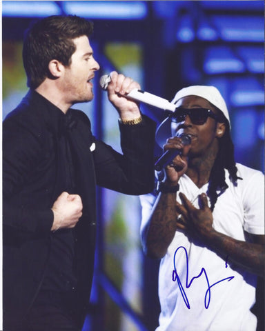 Music-Autographed - Robin Thicke Signed 8x10 Photograph Featuring Lil Wayne, Proof Photo 1