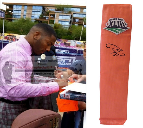 Football End Zone Pylons-Autographed - Ryan Clark Signed Pittsburgh Steelers Football Pylon, Proof- Collage 2