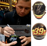 Nascar Helmets-Autographed - Ryan Newman Signed Nascar Tornados #39 Mini Helmet, Proof Photo Collage 1