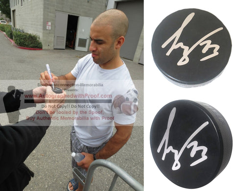 Hockey Pucks-Autographed - Scott Gomez Signed Hockey Puck, Proof Photo- New Jersey Devils- Collage 1