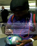 Soccer-Autographed - DaMarcus Beasley Signing MLS Franklin Silver Soccer Ball, Proof Photo
