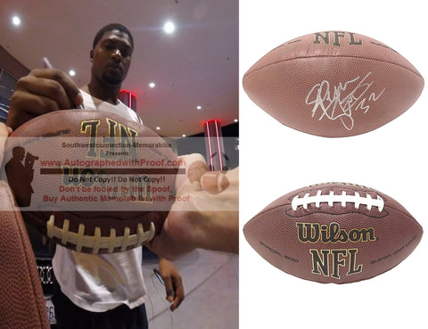 Football-Autographed - Spencer Ware Signed NFL Wilson Composite Football, Proof Photo- Seattle Seahawks- Kansas City Chiefs- LSU Tigers- Collage 1