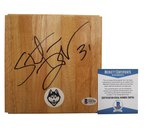 Floorboards- Autographed- Stefanie Dolson Signed UConn Connecticut Huskies Logo Basketball Floor Board - Proof Photo - Beckett BAS 3