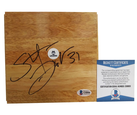 Floorboards- Autographed- Stefanie Dolson Signed UConn Connecticut Huskies Logo Basketball Floor Board - Proof Photo - Beckett BAS 5