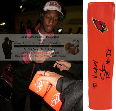 Football End Zone Pylons-Autographed - Stepfan Taylor Autographed Arizona Cardinals Football End Zone Touchdown Pylon, Proof- Collage- 1