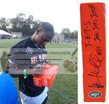 Football End Zone Pylons-Autographed- Stephen Hill Signed New York Jets Logo End Zone Pylon with Exact Proof Photo of Signing 101