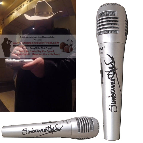 "Microphones-Autographed - Jason ""Sundance"" Head Signed Pyle Full Size Microphone - American Idol - Country Music - Proof Photo Collage 1"