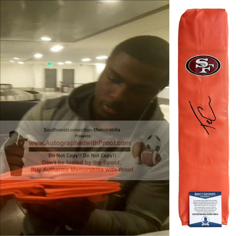 Football End Zone Pylons-Autographed - Tevin Coleman Signed San Francisco 49ers  Football TD Pylon - Proof Photo - Beckett BAS Collage 1